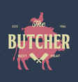 butcher shop and butchery hand written lettering vector image vector image