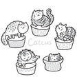 cactus cats outline hand drawing coloring print vector image vector image