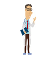 Cartoon Medical Man with Glasses vector image