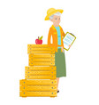 caucasian farmer holding clipboard with documents vector image vector image