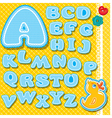 Chidish alphabet - letters are made of blue lace vector image