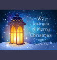 christmas greeting card with vintage lantern on vector image vector image