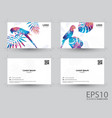 colorful macaw bird and tropical leaf namecard vector image vector image