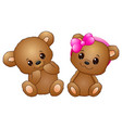 cute couple with a teddy bear wearing a pink bow vector image