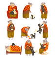 cute granny and her black cat set lonely old lady vector image vector image