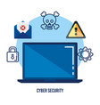 data center security with laptop vector image vector image