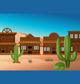 desert scene with shops and cactus vector image