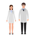 doctors dressed in medical uniform man one woman vector image