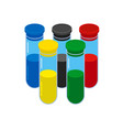 doping test concept five colored glass flask vector image