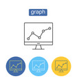 financial graph outline icons set vector image