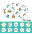 fitness banner in flat style outline icons vector image vector image