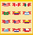 Flat flags north and south america