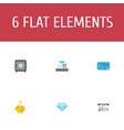 flat icons money box payment jewel gem and other vector image vector image