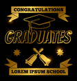 gold graduate banner with shine elements vector image