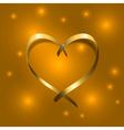 Gold silk ribbon heart Golden satin silhouette vector image vector image