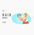 hair dresser landing page template girls fashion vector image vector image
