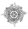 hand drawn vintage compass and snakes vector image vector image