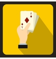 Hand holding playing cards icon flat style vector image vector image