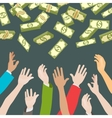 Hands catching money falling from above vector image