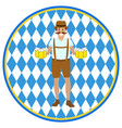 hilarious man with mugs beer at hands vector image