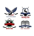 Ice hockey badges and icons vector image vector image