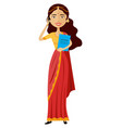 indian business woman talking the phone vector image