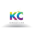 kc k c colorful letter origami triangles design vector image vector image