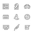 medical research black line icons set vector image