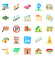 municipal icons set cartoon style vector image vector image