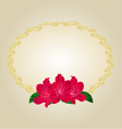 Oval gold frame with red rhododendrons vector image vector image