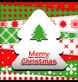 Patchwork background with christmas tree vector image
