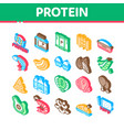 protein food nutrition isometric icons set vector image vector image