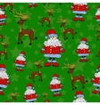 Seamless Christmas pattern with Santa reindeer vector image vector image