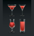 set of cocktail glass vector image vector image