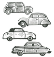 set of cute hand-drawn retro cars vector image