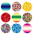 set of nine colorful circles of rhombuses vector image