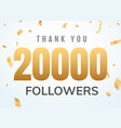 thank you 20000 followers design template social vector image vector image
