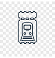train ticket concept linear icon isolated on vector image vector image