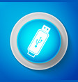 usb flash drive icon isolated on blue background vector image vector image