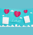 valentines day paper art with empty note vector image vector image