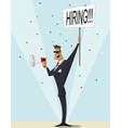 Vintage businessman searching candidate for job vector image vector image