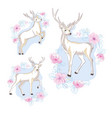 watercolor isolated deer big antlers flowers and vector image vector image