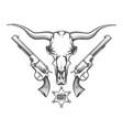 bull skull with revolvers drawn in engraving style vector image