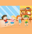 four kids having fun in music class vector image