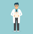 doctor with medical clipboard in hands handsome vector image