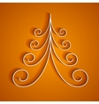 White 3d paper christmas tree on orange background vector image