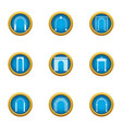 arch passage icons set flat style vector image vector image