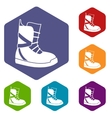 Boot for snowboarding icons set vector image vector image
