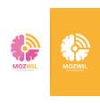 brain and wifi logo combination education vector image