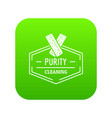 cleaning icon green vector image